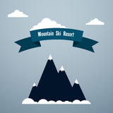 Mountain ski resort. Poster template Snow-covered mountain, clouds and banner with inscription Mountain ski resort Flat design Royalty Free Stock Photo