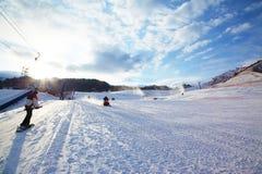 Mountain ski resort slope Royalty Free Stock Photography