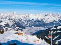 Mountain ski resort on sunny day, Leogang, Austrian Alps, Europe Royalty Free Stock Photos