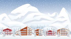 Mountain ski resort Stock Images
