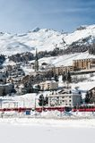 Mountain ski resort in winter. Railway station at Stock Photo