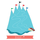 Mountain with ski slope and mark. Vector illustration with ski resort. Stock Photography