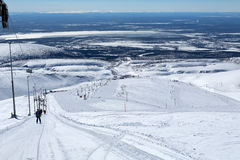 Mountain ski slope in the mountains of Khibiny Royalty Free Stock Images