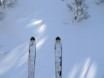 Mountain ski on the snow background Royalty Free Stock Photo