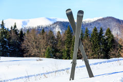 Mountain ski on snow of winter resort Royalty Free Stock Images