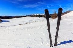 Mountain ski in snow on winter resort Royalty Free Stock Photos