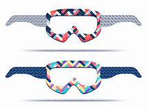 Mountain ski and snowboard goggles blueprint template royalty free illustration