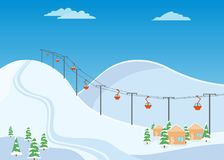Mountain ski trail, ski resort with snow and wooden houses. Vector design, vector illustration Royalty Free Stock Image