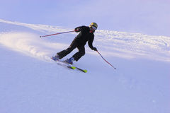 Mountain-skier. Sliding on the flank of hill Royalty Free Stock Photo