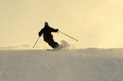 Mountain-skier. Sliding on the flank of hill Stock Photography