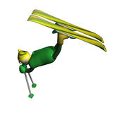 The mountain skier carries out elements Freestyle. The little man the mountain skier carries out acrobatic elements of Freestyle, is isolated, 3d Stock Image