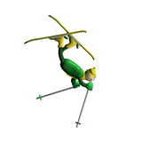 The mountain skier carries out elements Freestyle. The little man the mountain skier carries out acrobatic elements of Freestyle, is isolated, 3d Royalty Free Stock Images