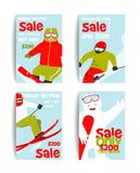 Mountain Skier Colorful Winter Sport Flyer Design Royalty Free Stock Photo