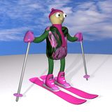 The mountain skier costs on mountain skiing, 3d. The mountain skier costs on mountain skiing, on snow, against the sky, 3d Stock Image