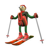 The mountain skier costs on mountain skiing, 3d. Is isolated, a white background Royalty Free Stock Image