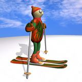 The mountain skier costs on mountain skiing, 3d. The mountain skier costs on mountain skiing, on snow, against the sky, 3d Royalty Free Stock Image
