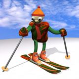 The mountain skier costs on mountain skiing, 3d. The mountain skier costs on mountain skiing, on snow, against the sky, 3d Royalty Free Stock Photos