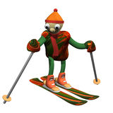 The mountain skier costs on mountain skiing, 3d. Is isolated, a white background Royalty Free Stock Photo