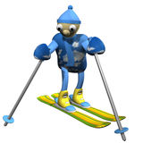 The mountain skier costs on mountain skiing, 3d Royalty Free Stock Photos