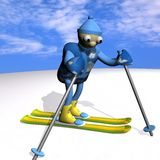 The mountain skier costs on mountain skiing, 3d. The mountain skier costs on mountain skiing, on snow, against the sky, 3d Royalty Free Stock Images