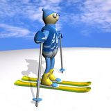 The mountain skier costs on mountain skiing, 3d Stock Image