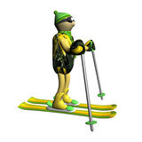 The mountain skier costs on mountain skiing, 3d Royalty Free Stock Images