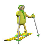 The mountain skier costs on mountain skiing, 3d. Is isolated, a white background Stock Photos
