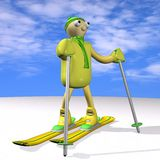 The mountain skier costs on mountain skiing, 3d. The mountain skier costs on mountain skiing, on snow, against the sky, 3d Royalty Free Stock Photo
