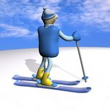 The mountain skier costs on mountain skiing, 3d. The mountain skier costs on mountain skiing, on snow, against the sky, 3d Stock Images