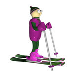 The mountain skier costs on mountain skiing, 3d. Is isolated, a white background Royalty Free Stock Images