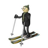 The mountain skier costs on mountain skiing, 3d. Is isolated, a white background Stock Images