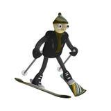 Mountain skier goes for a drive on mountain skiing. The little man the mountain skier goes for a drive on mountain skiing, is isolated, 3d Royalty Free Stock Photos