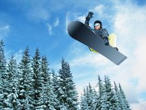 Mountain-skier jump. View from bottom Royalty Free Stock Image