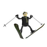 The mountain skier jumps on mountain skiing. The little man the mountain skier jumps on mountain skiing, is isolated, 3d Stock Photography