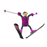 The mountain skier jumps on mountain skiing Stock Photo