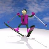The mountain skier jumps on mountain skiing Stock Image