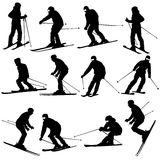 Mountain skier man speeding down slope. Vector Royalty Free Stock Images