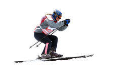 Mountain skier on race isolated Stock Images