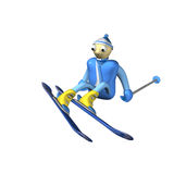 The mountain skier sits on snow. With mountain skiing and sticks, 3d, is isolated, a white background Stock Images