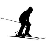 Mountain skier speeding down slope. Vector sport silhouette Royalty Free Stock Photos