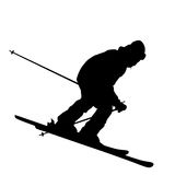 Mountain skier speeding down slope. Vector sport silhouette Stock Image