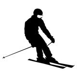 Mountain skier speeding down slope. Vector sport silhouette Royalty Free Stock Photo