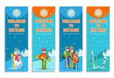 Mountain skier winter sport flyer design template.   Royalty Free Stock Photos
