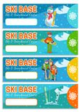 Mountain skier winter sport flyer design template. Snowboarding and skiing on flyers. Vector illustration. Royalty Free Stock Images