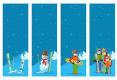Mountain skier winter sport flyer design template. Snowboarding and skiing with snowman and people on flyers. Vector illustration royalty free illustration