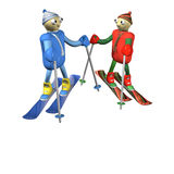 Mountain skiers stand on mountain skiing and talk Royalty Free Stock Photo