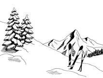Mountain skiing graphic art black white landscape sketch illustration Stock Images