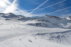 Mountain skiing - Italy, Valle d`Aosta, Cervinia Stock Image