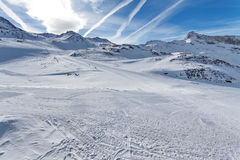 Mountain skiing - Italy, Valle d`Aosta, Cervinia Stock Photo