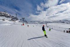 Mountain skiing - Italy, Valle d`Aosta, Cervinia. Mountain skiing - Italy, Valle d`Aosta, Breuil-Cervinia, Aosta Valley, Cervinia Stock Photos